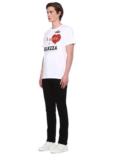 Dolce&Gabbana Bisiklet Yaka Baskılı Tişört Beyaz